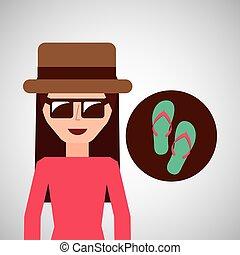 toursit female hat sunglasses flip flops