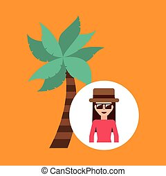 toursit female hat sunglasses palm tree