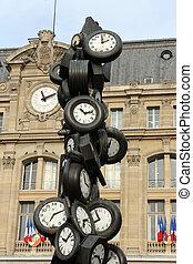 tous, de, parís, francia, monumento, tren, l'heure, estación...