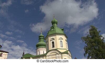 tout, église, nuages, croix, deux