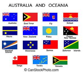 tout, australie, pays, liste, océanie, drapeaux