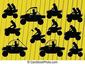 tout, buggy, terrain, dune, motos, véhicule, quad, cavaliers