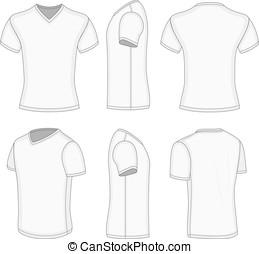 tout, cylindre court, vues, hommes, t-shirt., v-cou, blanc