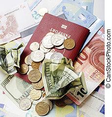 tout, dollars, rubl, argent., espèces, cassé, euro, table, isolated: