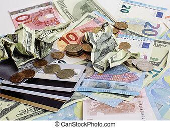 tout, dollars, rubl, global, argent., espèces, désordre, cassé, concept, euro, table, isolated:, crise