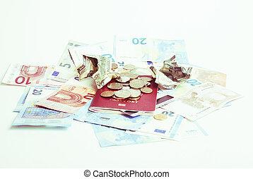 tout, dollars, rubl, voyage, global, argent., espèces, désordre, cassé, concept, passeport, euro, table, isolated:, crise
