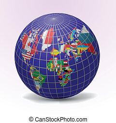 tout, drapeaux monde