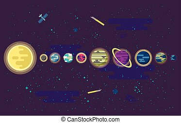 tout, ensemble, extérieur, planètes, système, illustration, space., solaire