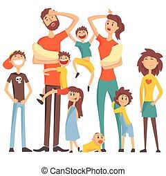 tout, gosses, coloré, famille, fatigué, beaucoup, ...