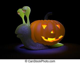 tout, halloween, escargot, va, 3d