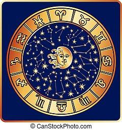 tout, lune, signe, zodiaque, sun., cercle, horoscope
