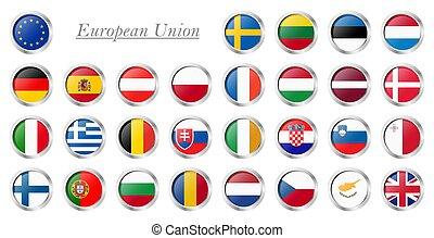 tout, pays, drapeaux, de, union européenne