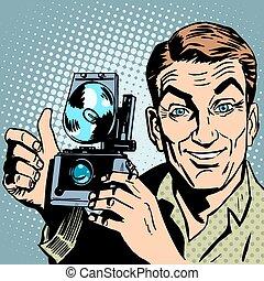 tout, photographe, puits, main, appareil photo, retro, geste