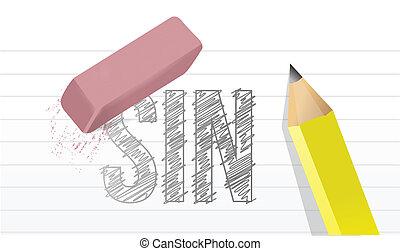 tout, sur, bloc-notes, péchés, illustration, effacer,...