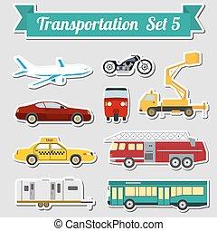 tout, transport, icône, ensemble, types