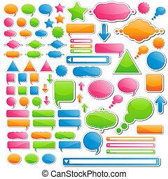 tout, variété, autocollants, les, bonbon, couleurs, 4, délicieux, icons;, venir