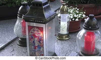 tout, votive, snitch, fête, day., tomb., mort, bougie, pierre tombale, saints', lanterne