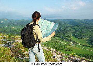 toutist, olvas, a, térkép