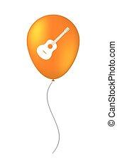 touwtje, balloon, zes, vrijstaand, gitaar, akoestisch