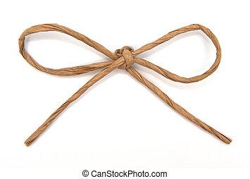 touwtje, gebonden, in, een, boog, op wit