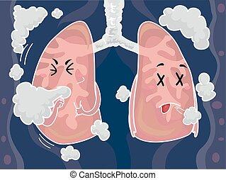 toux, poumons, fumée, mascotte