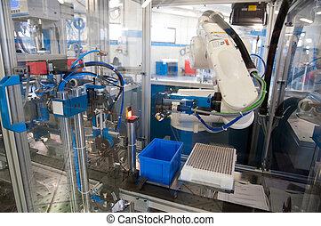 továrna, -, budova, řádka, e, stroj, jako, automatizace