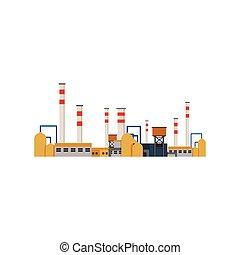 továrna, průmyslový, stavení, mocnina umístit, vektor