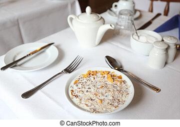 tovaglia, ciotola, latte, tavola, muesli, colazione, bianco