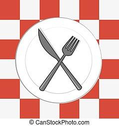 tovaglia, coltello, forchetta, piastra