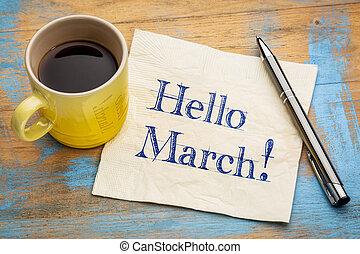 tovagliolo, marzo, ciao