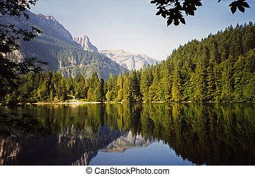 Tovel Lake-Italy - Tovel Lake in Dolomites Landscape,...