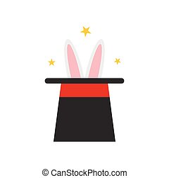 tovenaar, hoedje, konijn, pictogram