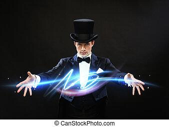 tovenaar, in, hoge hoed, het tonen, truc