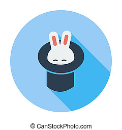 tovenaar, konijn, hat.