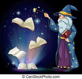 tovenaar, oud, boek, spitsroede, vasthouden