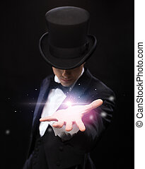 tovenaar, vasthouden, iets, op, palm, van, zijn, hand
