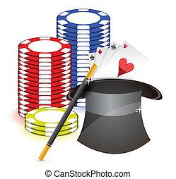 toverroede, casino, rekwisieten, hoedje