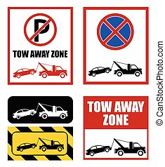 tow away zone, no parking sign