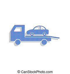 Tow car evacuation sign. Vector. Neon blue icon with cyclamen po