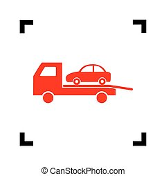 Tow car evacuation sign. Vector. Red icon inside black focus corners on white background. Isolated.