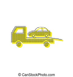 Tow car evacuation sign. Vector. Yellow icon with square pattern