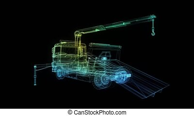 Tow car. Glow points and line formation of tow truck. 4k animation. Breakdown crane with with a platform for transporting cars. Digital technology visualization of 3d.