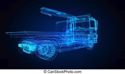 Tow car. Glow points and line formation of tow truck. 4k ...