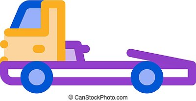 Tow Cargo Truck Icon Vector Outline Illustration