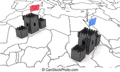 tow castles animation for use in presentations, manuals,...