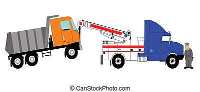 tow ruck towing dump truck - heavy duty tow truck towing a...