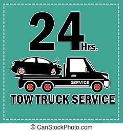 Tow truck 24 Hrs. - Towing truck vector icon and 24 Hrs....