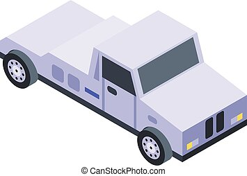 Tow truck car icon, isometric style