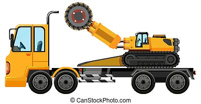 Tow truck carrying construction car isolated on white background