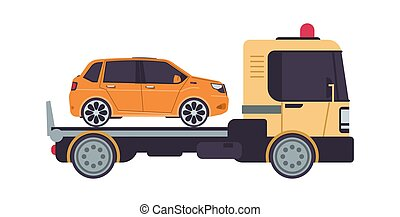 Tow truck. Cartoon evacuator. Side view of lorry carries automobile in trunk. Isolated transportation faulty car. Special vehicle for auto evacuation. Workshop service advertising, vector illustration